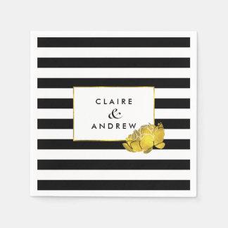 Black Stripe & Faux Gold Peony Paper Napkin