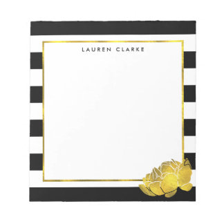 Black Stripe & Faux Gold Peony Personalized Notepad