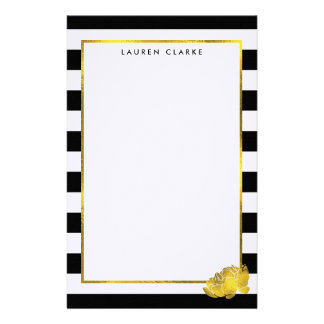 Black Stripe & Faux Gold Peony Personalized Stationery