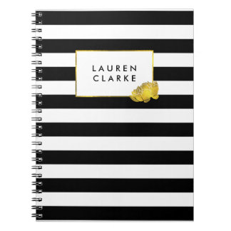Black Stripe & Faux Gold Peony Spiral Notebook