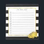"""Black Stripe &amp; Faux Gold Peony To Do List Notepad<br><div class=""""desc"""">Notepad features bold black and white stripes with a gleaming peony flower in faux (printed) gold effect,  and &quot;to do list&quot; at the top. 10 lines with checkboxes help you keep track of all your important tasks!</div>"""