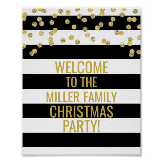 Black Stripe Gold Confetti Welcome Christmas Party Poster