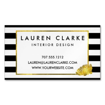 Professional Business Black Stripe & Gold Peony Magnetic Business Cards