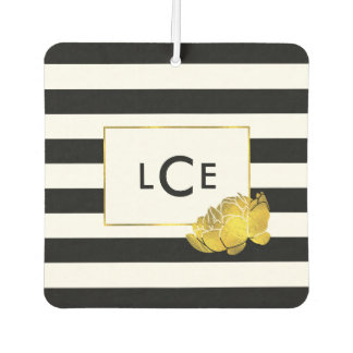 Black Stripe & Gold Peony Monogram Air Freshener