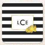 """Black Stripe &amp; Gold Peony Monogram Coasters<br><div class=""""desc"""">These paper coasters feature bold black and white stripes with a gleaming peony flower in faux gold effect. Coordinates with our Black Stripe &amp; Gold Peony office accessories,  paper products,  and accessories. Customize with a monogram,  name or text of your choice!</div>"""