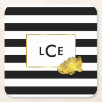Black Stripe & Gold Peony Monogram Coasters