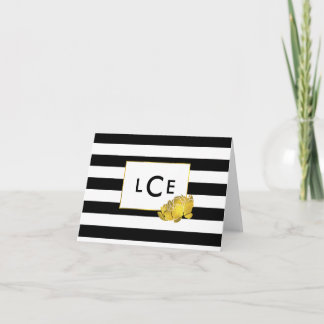 Black Stripe & Gold Peony Monogram Note Cards