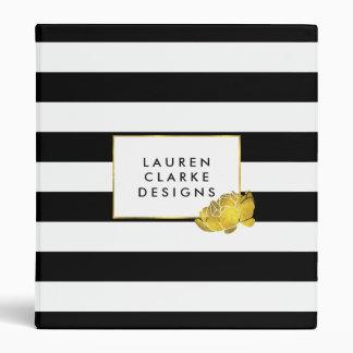 Black Stripe & Gold Peony Personalized Binder
