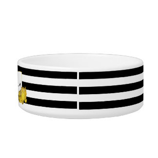 Black Stripe & Gold Peony Personalized Pet Bowl