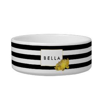 Black Stripe & Gold Peony Personalized Pet Bowl
