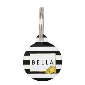 Black Stripe & Gold Peony Personalized Pet ID Tag