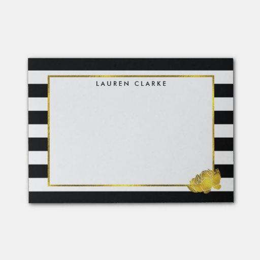 Black Stripe & Gold Peony Sticky Notes