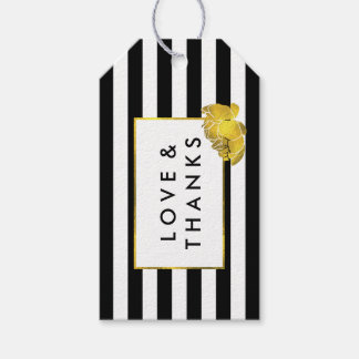 Black Stripe & Gold Peony Wedding Favor Tags