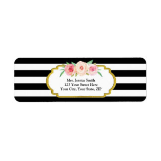 Black Stripe Gold Pink Floral Return Address Label
