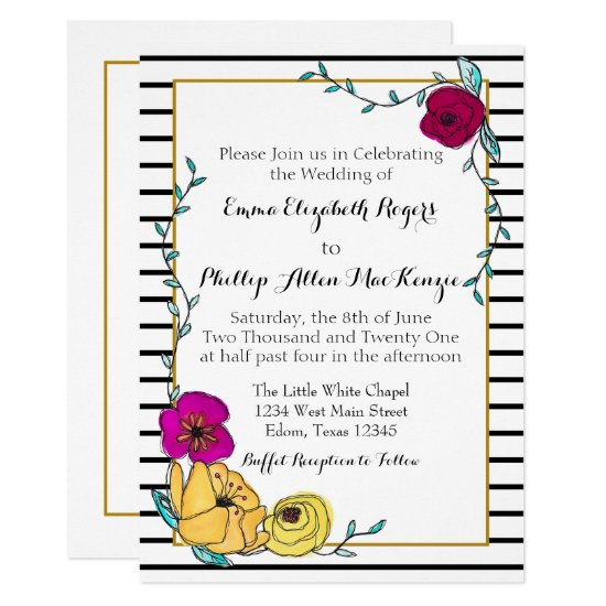 Black Stripe Magenta Poppy Yellow Floral Modern Invitation