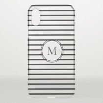 Black Stripe Monogram iPhone X Case