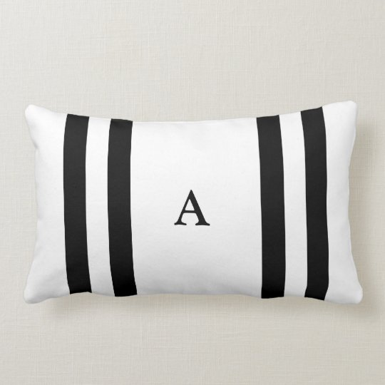 Black Stripe Monogram Lumbar Pillow