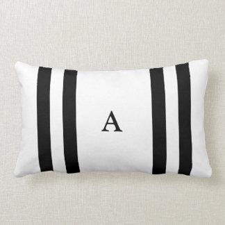 Black Stripe Monogram Lumbar Pillow