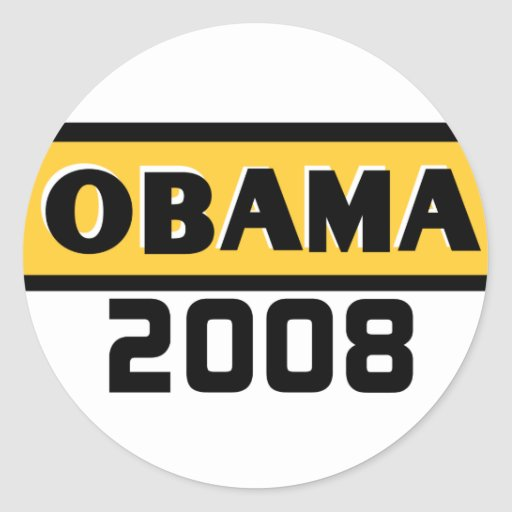 Black Stripe Obama Yellow 08 Sticker