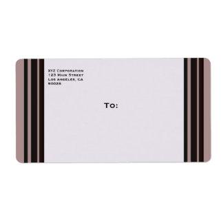 black stripe on purple business label