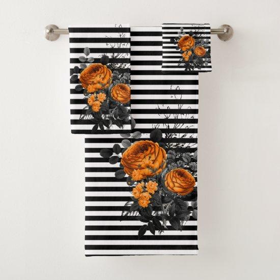 Black Stripe Orange Flower Rose Bath Halloween Bath Towel Set