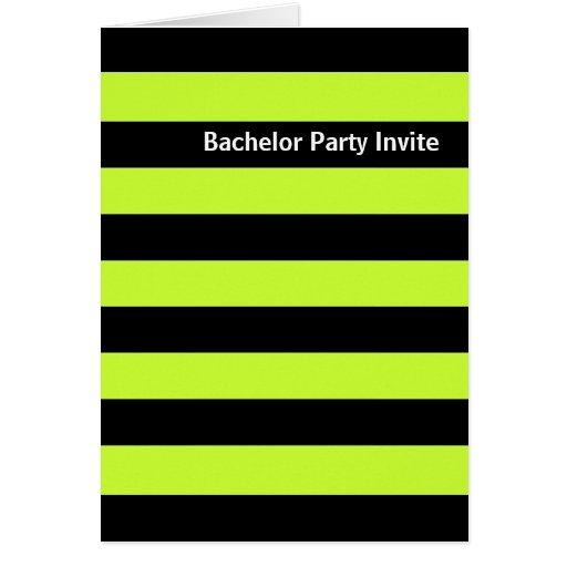 Black Stripe Peppermint Bachelor Party Invite Card
