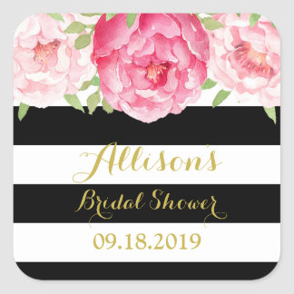 Black Stripe Pink Floral Bridal Shower Favor Tag