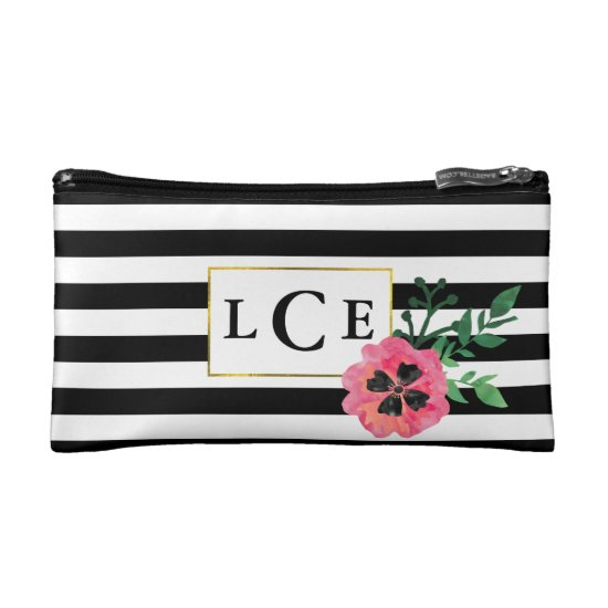 Black Stripe & Pink Floral Monogram Cosmetic Bag