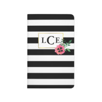Black Stripe & Pink Floral Monogram Journal