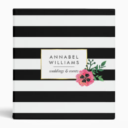 Black Stripe & Pink Floral Personalized Binder