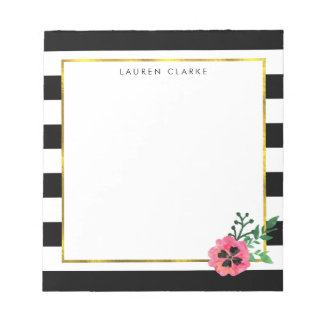 Black Stripe & Pink Floral Personalized Notepad