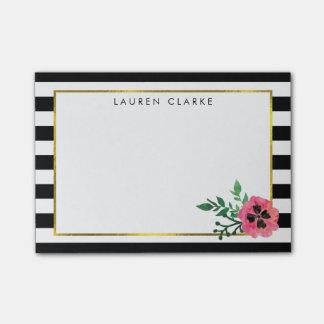 Black Stripe & Pink Floral Sticky Notes