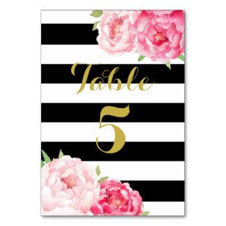 Black Stripe Pink Floral Wedding Table Number Card