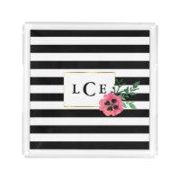 Black Stripe & Pink Flower Monogram Tray
