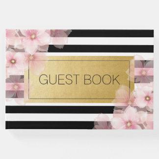Black Stripe Pink Foral Wedding Guest Book