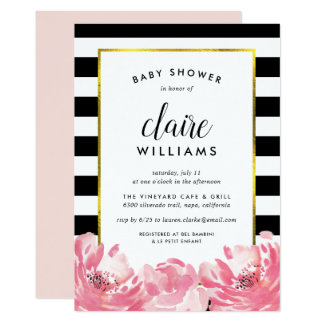 Black Stripe & Pink Peony Baby Shower Invitation