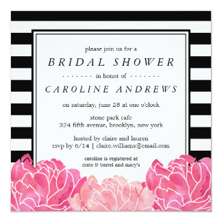Black Stripe & Pink Peony Bridal Shower Card