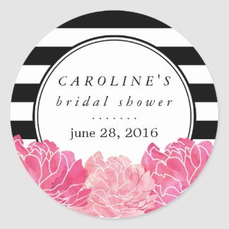 Black Stripe & Pink Peony Bridal Shower Classic Round Sticker