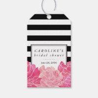 Black Stripe & Pink Peony Bridal Shower Gift Tags