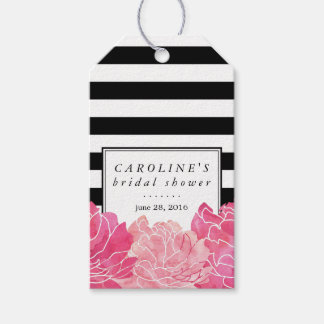 Black Stripe & Pink Peony Bridal Shower Gift Tags