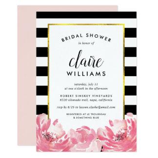 Black Stripe & Pink Peony Bridal Shower Invitation