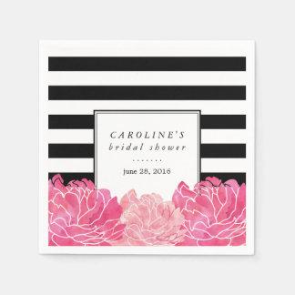 Black Stripe & Pink Peony Bridal Shower Napkin