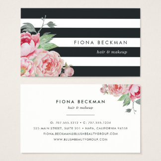 Black Stripe & Pink Peony Business Card