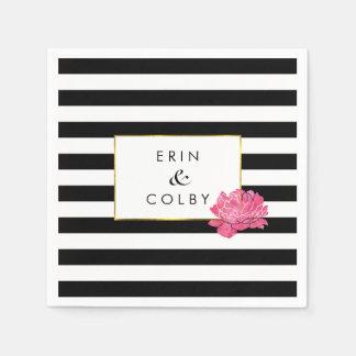 Black Stripe & Pink Peony Napkin