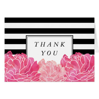 Black Stripe & Pink Peony Thank You Card