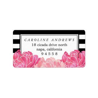 Black Stripe & Pink Peony Watercolor Return Label