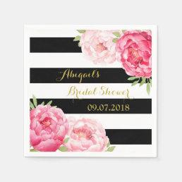 Black Stripe Pink Watercolor Bridal Shower Napkins