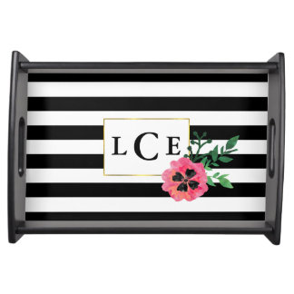 Black Stripe & Pink Watercolor Floral Monogram Serving Tray