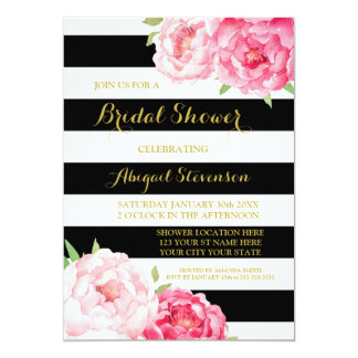 Black Stripe Pink Watercolor Flowers Bridal Shower Card