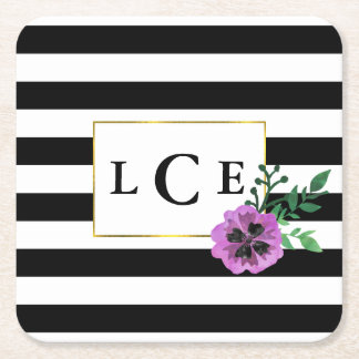 Black Stripe & Purple Pansy Monogram Coasters